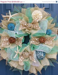 Sale Beach/Summer deco mesh wreath by WonderfulWreathsKim on Etsy