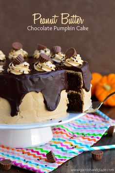 Incredibly moist chocolate pumpkin cake with peanut butter frosting and chocolate ganache. Chocolate Pumpkin Cake, Pumpkin Dessert, Chocolate Peanut Butter, Chocolate Ganache, Frosting Recipes, Butter Frosting, Cake Recipes, Dessert Recipes, Just Desserts