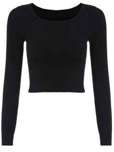 Long Sleeve Crop Black T-shirt