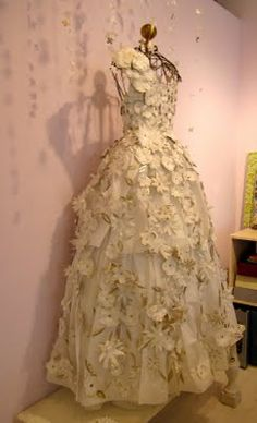 Amazing paper wedding dress created by artist Linda Filley at the Paper Trail in Rhinebeck, NY.