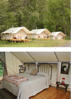 10 Luxury Glamping Resorts For The Perfect Getaway : glamping, River Dance Lodge Syria Idaho. Located along a rushing creek, our glamping tents bring back memories of yesteryear. Luxury Glamping, Camping Glamping, Camping Hacks, Outdoor Camping, Camping Recipes, Camping Essentials, Camping Ideas, Utah Camping, Family Camping