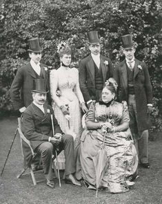 Princess Mary Adelaide and Franz von Teck, Queen Mary standing...