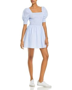 AQUA Striped Smocked Dress - 100% Exclusive AQUA - Women's Clothing - Bloomingdale's