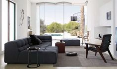 Living Room, Modern Living Room Design Ideas With Comfortable Sofa Design And Glass Door And Long Carpet Flooring Ideas Small Coffe Table Wo. Living Room Grey, Living Room Sofa, Living Room Decor, Living Area, Living Rooms, Living Room Furniture Layout, Living Room Designs, Space Furniture, Gray Furniture