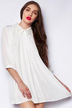 Beaded Color Block White Dress #Romwe