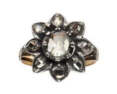 Mid 1700s Georgian Table Cut Foiled Diamond Cluster Ring, Silver, 9K Gold : Erie Basin Antiques