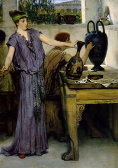 Pottery Painting Sir Lawrence Alma-Tadema (Dutch/British Oil on panel. Alma-Tadema arrived in London in The painter wasted no time in contacting. Lawrence Alma Tadema, Portrait Photos, Beaux Arts Paris, Painting Prints, Art Prints, Art Paintings, Manchester Art, Academic Art, Dutch Painters