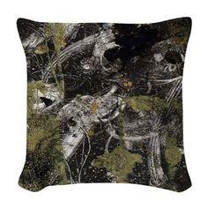 Dark abstract texture Woven Throw Pillow