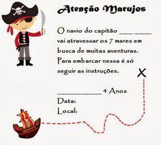 Scrapfesta Pirata Sugestão decoração festa infantil Molde barco pirata molde baú pirata cone quadrado folha scrap pirata | A Gaivota Artesanato