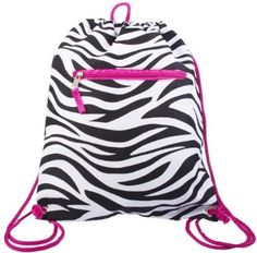 Backpacks for under $10 shipped including this Cinch String Sack Backpack - Zebra With Hot Pink Trim! Cheer Backpack, Backpack Bags, Drawstring Backpack, Small Handbags, Tote Handbags, Amazon Clothes, Backpack For Teens, Pink Zebra, Red Leather