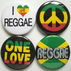Set of four Reggae themed badges buttons pins One by PinItOnBadges, £3.39