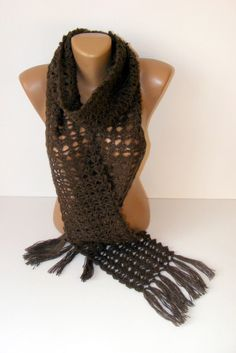 SALE Handcrocheted scarfwomen scarfbrown by seno on Etsy, $29.00