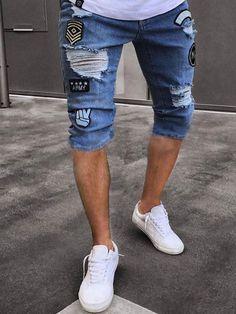 New Arrive Men's Embroidery Jeans Shorts Ripped Shorts, Ripped Denim, Jean Shorts, Men's Denim, Denim Pants, Mens Fashion Suits, Fashion Pants, Jean Court, Short En Jean