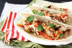 Thai chicken tacos with peanut butter sauce