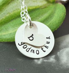 Godmother necklace, Custom initial, Hand stmped, Godmother gift, Personalized jewelry, Sterling silver. $38.99, via Etsy.
