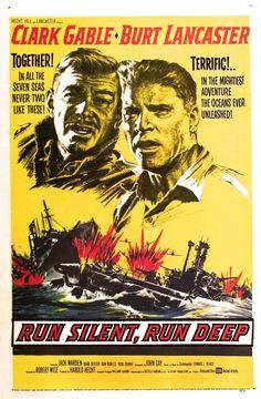 RUN SILENT, RUN DEEP (1957) - Clark Gable - Burt Lancaster - United Artists - Movie Poster.