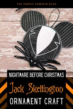 This Jack Skellington Ornament craft is just the thing to make if you are a fan of The Nightmare Before Christmas! The ornament is so simple to make using construction paper or cardstock and will look awesome on your Halloween tree! Disney Christmas Crafts, Disney Diy Crafts, Halloween Paper Crafts, Disney Ornaments, Paper Ornaments, Ornament Crafts, Holiday Crafts, Christmas Holiday, Holiday Ideas
