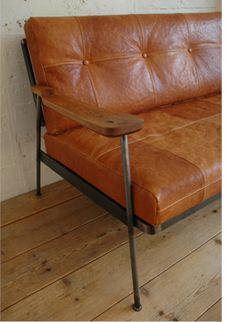 brown leather metal wood