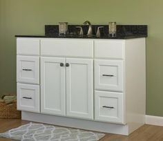 """48"""" White Vanity with 4 Drawers"""