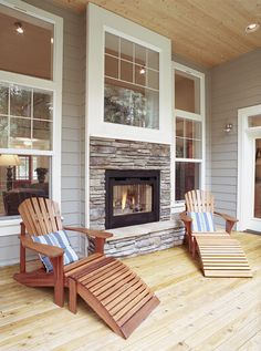 Indoor Outdoor Fireplace - 2002 Street of Dreams home by O'Neill Design Associates