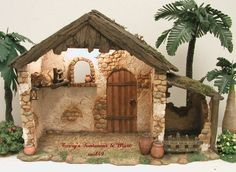 """Fontanini Italy""""Birth of Christ Stable"""". I Don't Take Pictures of Each One. The One in my Pictures May or May not be the Actual Piece you Will be Getting. Nativity Stable, Diy Nativity, Christmas Nativity Scene, Christmas Crafts, Christmas Decorations, Fontanini Nativity, Kids Castle, Ceramic Houses, Glitter Houses"""