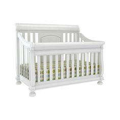 Creations Baby Summers Evening 4 in 1 Convertible Sleigh Crib Collection - Rubbed White - Nursery Furniture Sets at Cribs