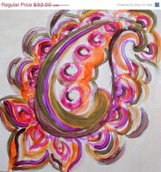 "Holiday sale 15% off PAISLEY painting original 8""x8"" magenta ochre green by devikasart on Etsy. $27.20, via Etsy."