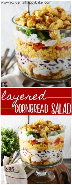Layered cornbread salad has fresh veggies layered high with cornbread, cheese and ranch dressing. It's an old fashioned crunchy, creamy and savory salad. Picnic Side Dishes, Side Dishes Easy, Main Dishes, Layered Cornbread Salad, Seven Layer Salad, Savory Salads, Vegetable Salads, Easy Salad Recipes, Coleslaw Recipes