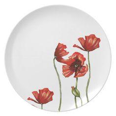 Red Poppy Floral Design Dinner Plates #weddinggiftideas