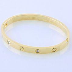 replica Faux Replica Cartier High Quality Yellow Gold LOVE Bracelet with Four Diamonds