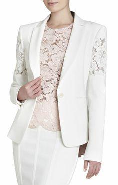 My new blazer. Lace Blazer, Lace Jacket, Uniform Dress, Dress Suits, Work Dresses For Women, Suits For Women, Bcbg, Beachwear Fashion, Mode Chic