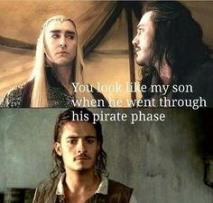 In the Hobbit movies, Bard looks more like Orlando Bloom than Orlando Bloom looks like Orlando Bloom. 〖 The Hobbit Thranduil Bard Disney Pirates of the Caribbean POTC William Will Turner pirate phase funny 〗 Narnia, The Hobbit Movies, O Hobbit, Hobbit Funny, Hobbit Humor, Will Turner, Martin Freeman, Hunger Games, Johny Depp