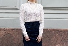 Anna Valkia wearing a white lace top by Rosemunde and midnight blue velvet skirt by By Malene Birger. Velvet Skirt, Malene Birger, Blue Velvet, Midnight Blue, White Lace, Lace Skirt, Fashion Beauty, Anna, Glamour