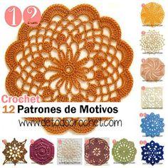 Patrones de motivos crochet con foto y esquema