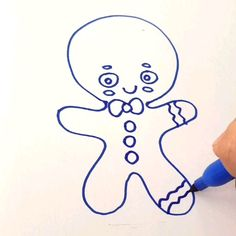 Easy step by step tutorial for kids Cute Food Drawings, Cute Disney Drawings, Art Drawings Sketches, Cartoon Drawings, Easy Drawings, Gingerbread Man Drawing, Mom Mobile, Preschool Pictures, Henna Tattoo Designs Simple