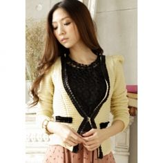 $7.54 Slimming Lace Embellished Plunging Neck Long Puff Sleeve Blazer For Women