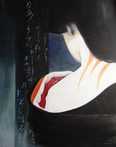 "geisha painting ""Soie""  kimono and calligraphy  oil painting   92x73  1450 €"
