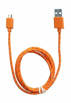 Tnz Orange Micro USB Charger Cable 1 Meter Long Harnessing Velcro strap ring