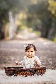 Baby girl sits while wearing a lace romper, pearls, and flower crown on a tree lined path in this portrait by Nature's Reward Photography Baby Sofa Chair, Baby Couch, Photography Props, Children Photography, Lace Romper, Nursery Room, Baby Wearing, Animal Drawings, Flower Crown