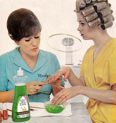 Palmolive & Madge Soak your hands in Palmolive while doing your nails it is that good for your nails so they used to advertise.