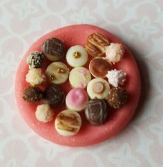 Plate of Petit Fours -  Dollhouse Miniature Food in 1:12 scale by MagentaMinis on Etsy