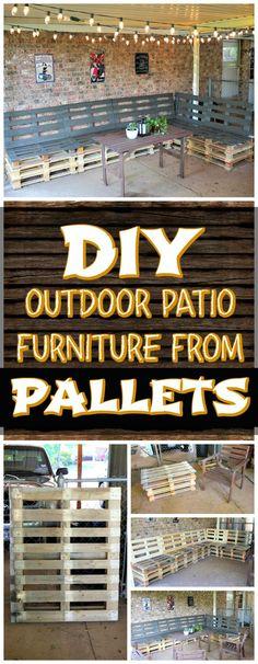 DIY Pallet Patio Sitting Furniture Set - 150 Best DIY Pallet Projects and Pallet Furniture Crafts - DIY & Crafts