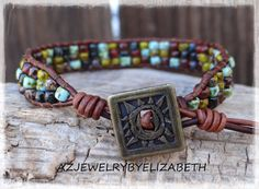 Beaded Single Leather Wrap Bracelet/ Boho by AZJEWELRYBYELIZABETH