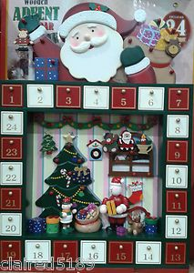 New Festive Father Christmas Wooden Advent Calendar with 24 Hanging Ornaments | eBay