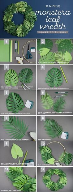 Spruce Up Your Summer: Quick & Easy Paper Monstera Leaf Wreath Papier-Monstera-Blattkranz Papier-Monstera-Blattkranz Paper Flowers Diy, Flower Crafts, Craft Flowers, Fabric Flowers, Flower Diy, Paper Flower Patterns, Paper Flower Art, Tree Crafts, Flower Making