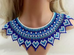 Huichol Beaded Colar Necklace In Blue Shades