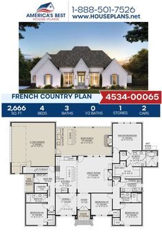 Introducing Plan 4534-00065 offering 2,666 sq. ft., 4 bedrooms, 3 bathrooms, a mud room, a kitchen island and an additional bonus room. Go to our website to learn more today. French Country House Plans, Open Layout, French Countryside, Best House Plans, Wet Rooms, Build Your Dream Home, House Layouts, Sims 4, Mud