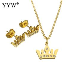 Fashion Jewelry Stainless Steel Sets Stainless Steel earring & Pendant Necklaces Crown gold color plated for fashion women gift #Affiliate