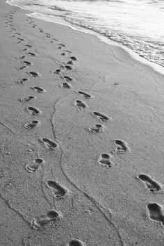Beach photography, footprints, sand, ocean, seascape, seashore, coastal photograph, golden sand, nature,black and white beach art decor