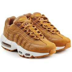 Nike Air Max 95 Premium Leather Sneakers ($219) ❤ liked on Polyvore featuring shoes, sneakers, nike, camel, real leather shoes, leather footwear, leather shoes, genuine leather shoes and leather trainers